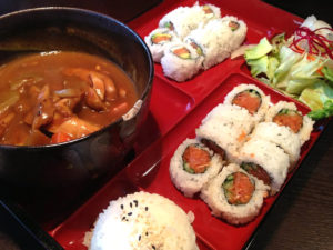 Chicken Curry Combination Bento with Phiily and Spicy Tina Roll
