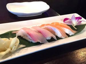 Hamachi (Yellow Tail) and Salmon Nigiri