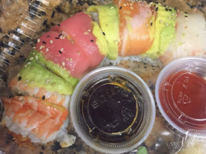 Spicy Rainbow Sushi Roll To Go