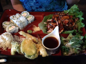 Teriyaki Chicken Bento Box with California Rolls and Mixed Tempura